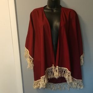 Miss day fringed poncho size small